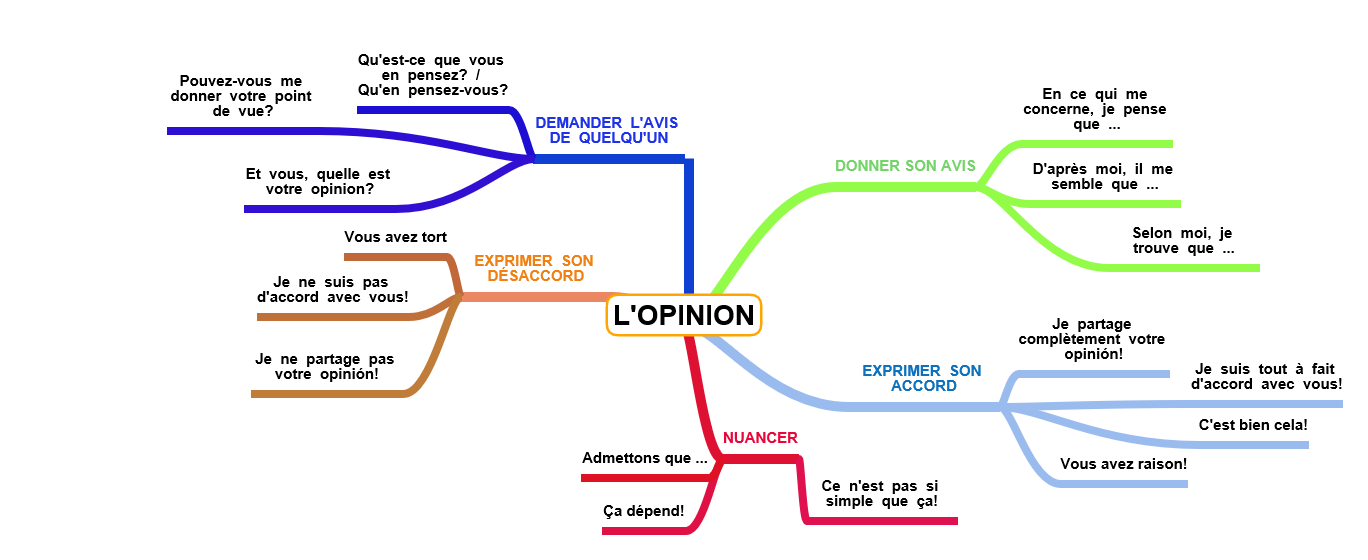Carte mentale sur l'expression de l'opinion